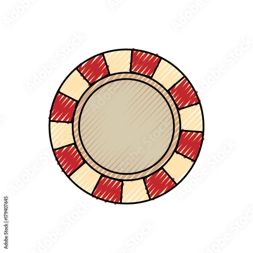 flat line colored casino chips doodle over white background vector illustration плакат