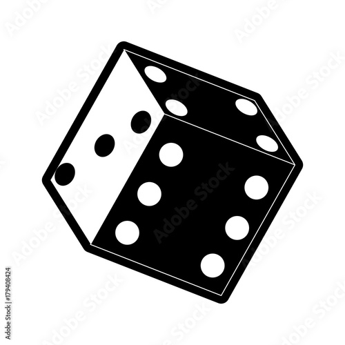 flat line monochromatic dice over white background  vector illustration плакат