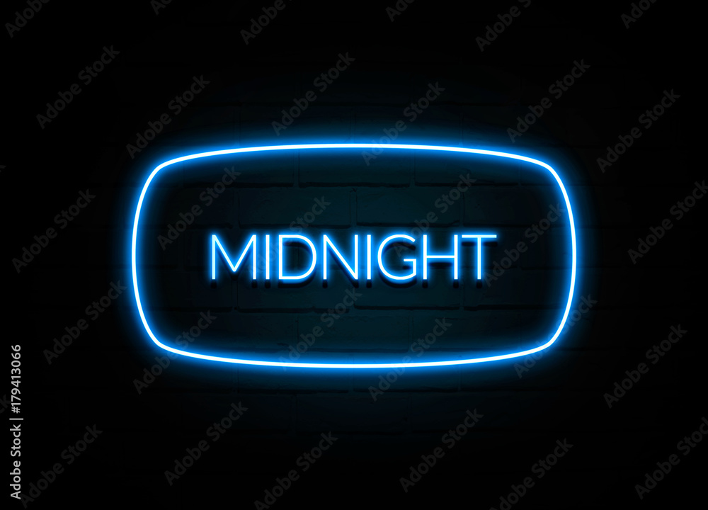 Fototapety, obrazy: Midnight  - colorful Neon Sign on brickwall