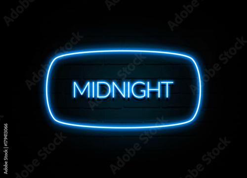 Cuadros en Lienzo Midnight  - colorful Neon Sign on brickwall