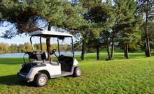 Golf Carts On A Golf Course