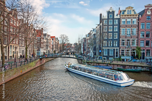 City scenic from Amsterdam in the Netherlands Wallpaper Mural