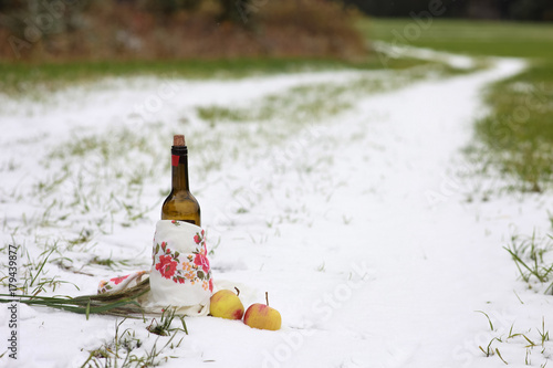 Staande foto Picknick Picnic in the field on the first snow. The composition includes red wine, oats, apples.