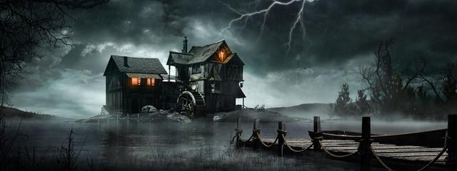 Burza nad starym młynem wodnym