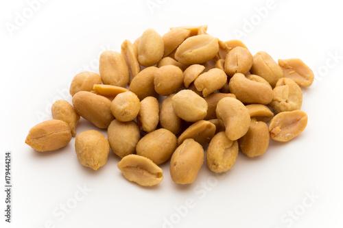 Fotografia, Obraz  Peeled peanuts on the isolated background.