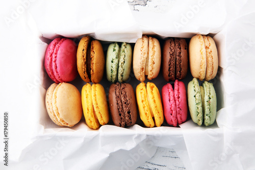 Recess Fitting Macarons Different types of macaroons or macarons in a box.