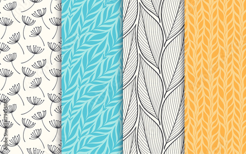 Abstract decorative doodle nature seamless patterns set. Hand drawn linear and silhouette flowers, branches, leaves textures. Simple universal background. Vintage colors. Vector illustration