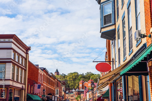 Obraz Shops along main street, Galena, Illinois - fototapety do salonu