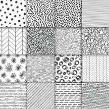 Abstract Hand Drawn Geometric Simple Minimalistic Seamless Patterns Set. Polka Dot, Stripes, Waves, Random Symbols Textures. Bright Colorful Vector Illustration. Template For Your Design