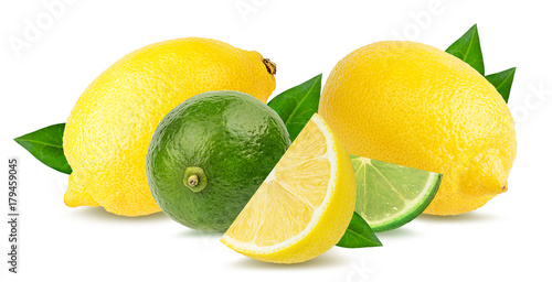Fresh lemon with lime isolated on white background with clipping path