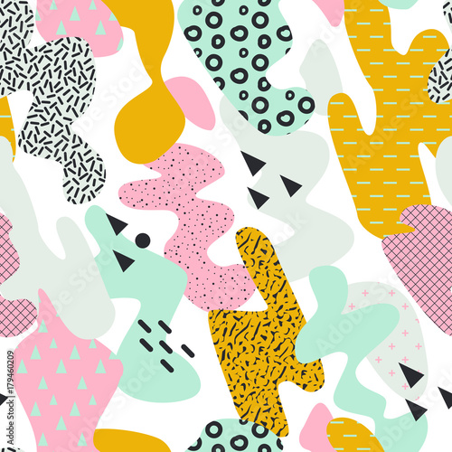 Abstract Memphis Style Seamless Pattern With Brush Strokes