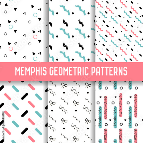 Abstract Memphis Style Seamless Pattern Set. Geometric Shapes Background. 80-90s Fashion Design. Wallpaper, Wrapping Paper, Texture. Vector illustration