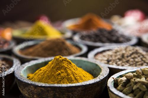 Keuken foto achterwand Kruiden Spice Still Life, wooden bowl