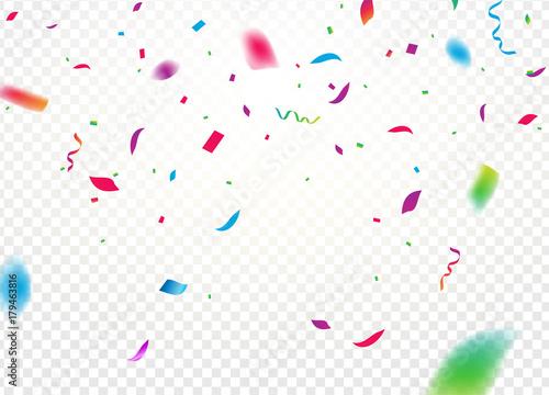 Obraz Confetti background vector isolated. Falling confetti birthday party decoration - fototapety do salonu