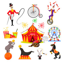 A Set Of Images On A Circus Th...