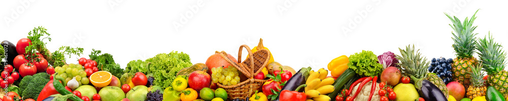 Fototapeta Panoramic collection fruits and vegetables for skinali isolated on white
