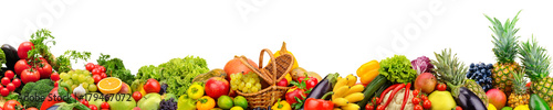Photo Stands Fruits Panoramic collection fruits and vegetables for skinali isolated on white