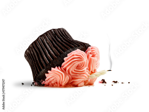 Fotografie, Tablou Accident, dropped cupcake with candle and smoke isolated on white