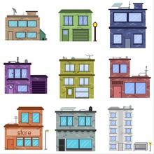 Buildings Set Pixel Art