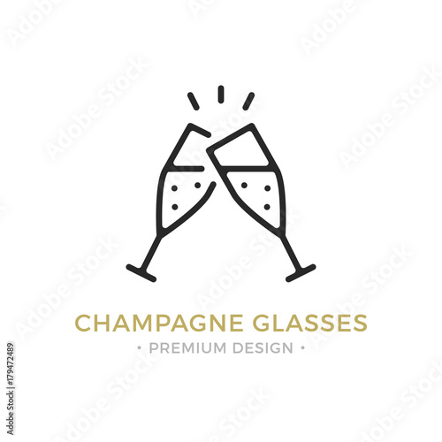 Fotografía  Vector champagne glasses icon