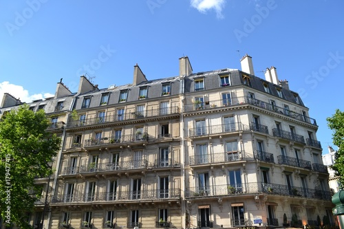 Picturesque old residential building from Saint Germain Boulevard in the 5th arr Canvas Print