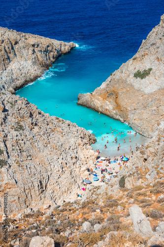 Vászonkép Seitan limania or Agiou Stefanou, the heavenly beach with turquoise water