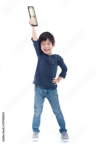 Asian child holding Soroban abacus - 179488213