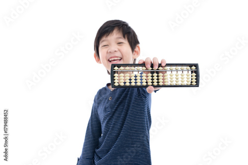 Asian child holding Soroban abacus Canvas Print