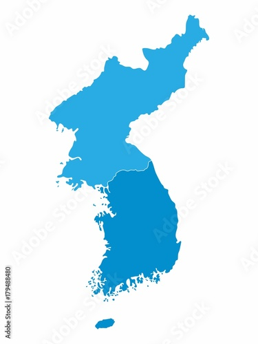 Wallpaper Mural North and South Korea map on blue background, Vector Illustration