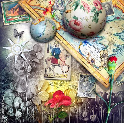 Poster Imagination Paesaggio fantastico esurreale con vecchie mappe,francobolli e carte da gioco