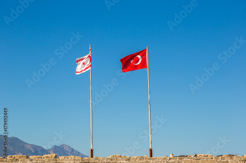 Foto op Canvas Cyprus Flags of Turkey and North Cyprus