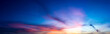 canvas print picture - Panorama twilight nature sky and cirrus cloud