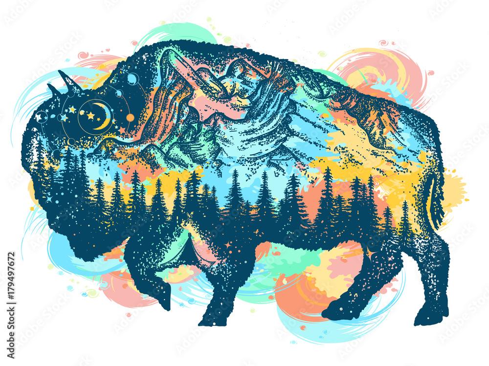 Fototapeta Buffalo bison color tattoo art. Mountain, forest, night sky. Magic tribal bison double exposure animals. Buffalo bull travel symbol, adventure tourism