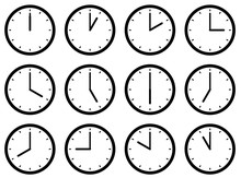 Set Of Clocks, With The Times ...
