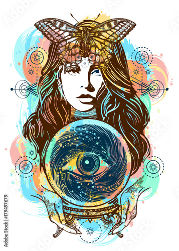 Beautiful Witch Woman Color Tattoo And T Shirt Design Magic Art Fortune