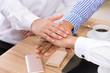 Business teamwork concept hands stack join together