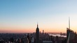Magic hour time lapse video of Manhattan skyscrapers in New York, USA (with zoom out)
