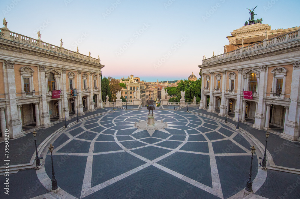Fototapety, obrazy: Rome, Italy - The Piazza del Campidoglio square, headquarters of the mayor of Rome, at the dawn