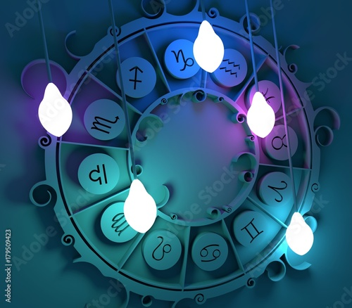 Photo Astrological signs in the circle