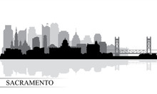 Sacramento City Skyline Silhou...