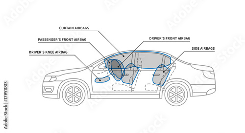 Car Air Bags Vector Illustration Car Airbags For Driver And