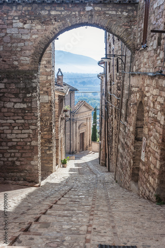 View of a street in Spello, Umbria, Italy Wallpaper Mural
