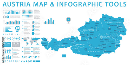 Cuadros en Lienzo  Austria Map - Info Graphic Vector Illustration