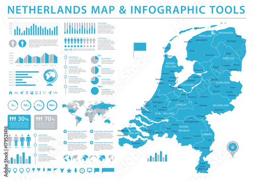 Cuadros en Lienzo Netherlands Map - Info Graphic Vector Illustration