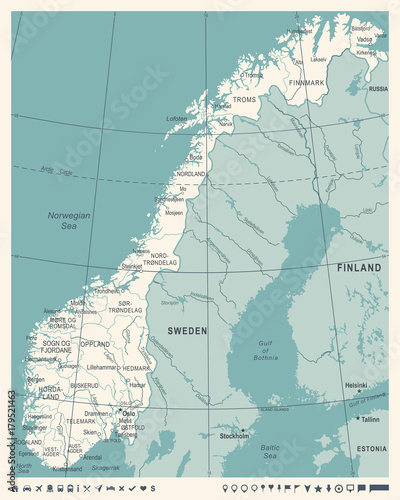 Norway Map - Vintage Vector Illustration Fototapet