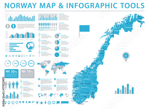 Norway Map - Info Graphic Vector Illustration Fototapet