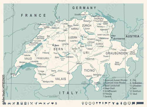 Switzerland Map - Vintage Vector Illustration Billede på lærred