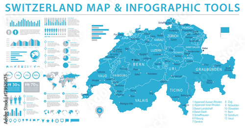 Fotografering Switzerland Map - Info Graphic Vector Illustration