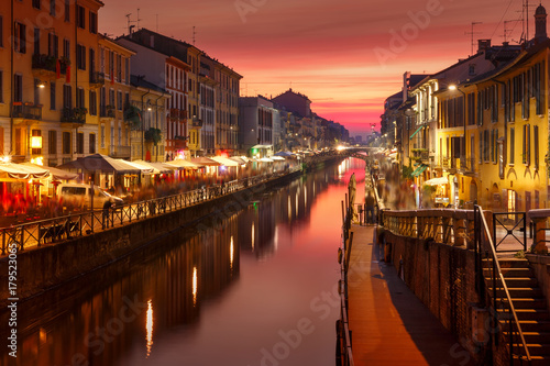plakat Bridge across the Naviglio Grande canal at sunset, Milan, Lombardia, Italy