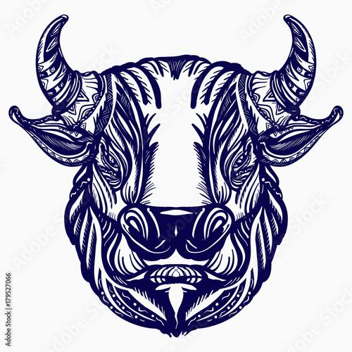 Bull Head Tattoo And T Shirt Design Big Furious Bull Symbol Of